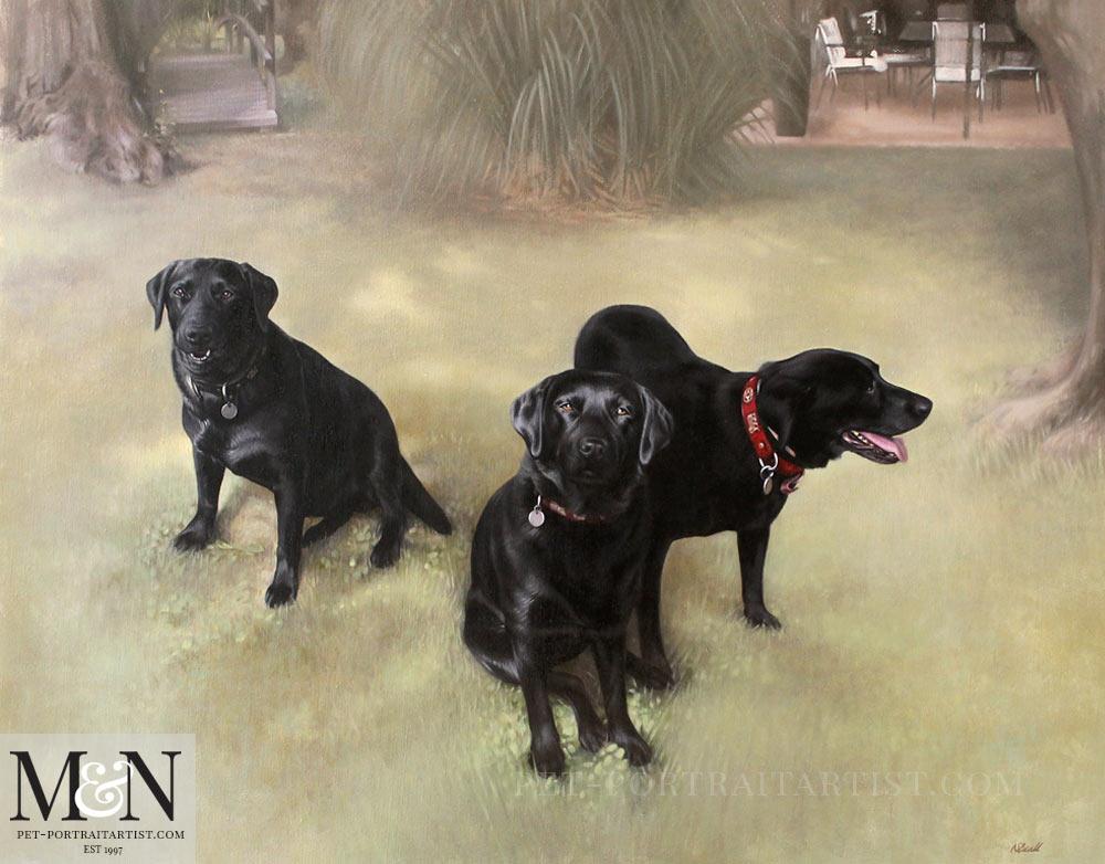 Oil Dog Portrait of Zizou, Gingko & Rover