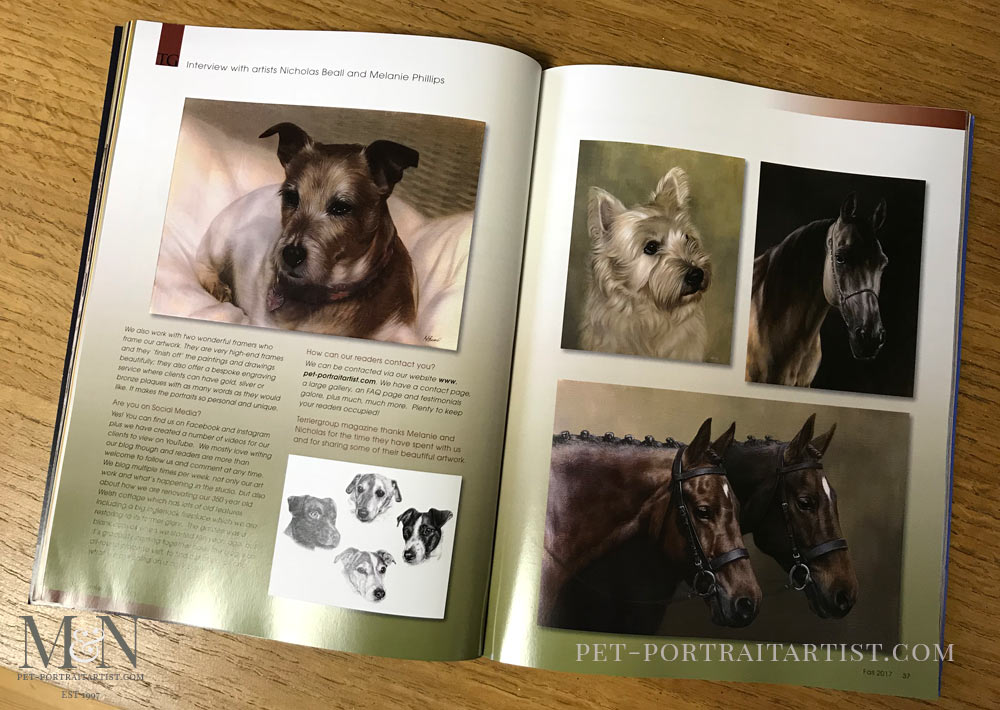 Pet Portraits Article for Terrier Group Magazine