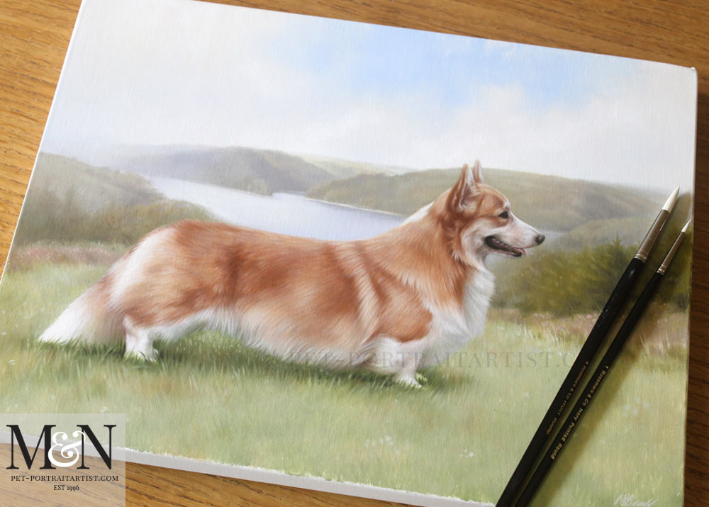 Corgi Oil Painting