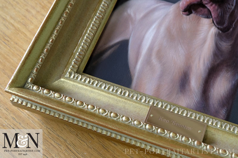Weimaraner Oil Portrait Framed