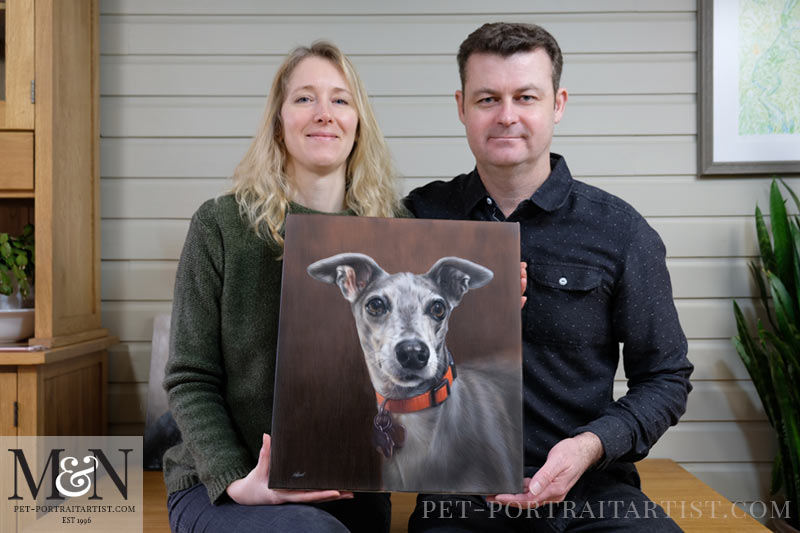 Melanie and Nicholas with the Dog Oil Portrait of Spyder