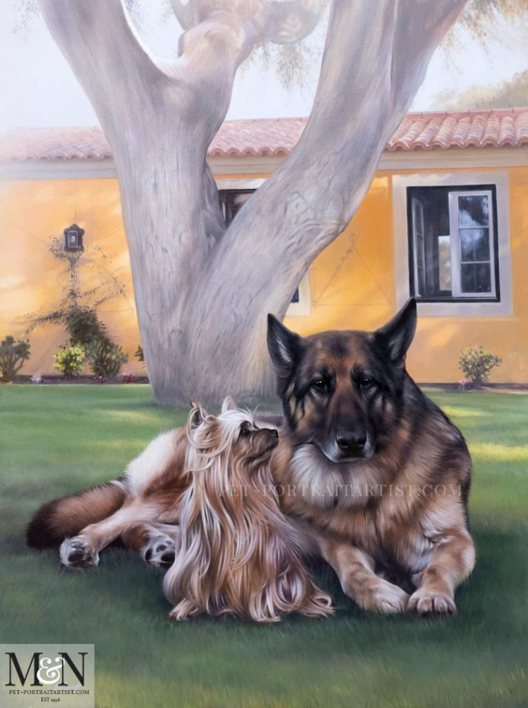 Leya and Jack in front of their Portugal home in dappled sunlight