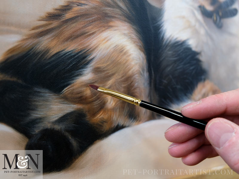 Detail of the cat portrait in oil