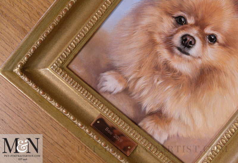 Close up of the portrait framed