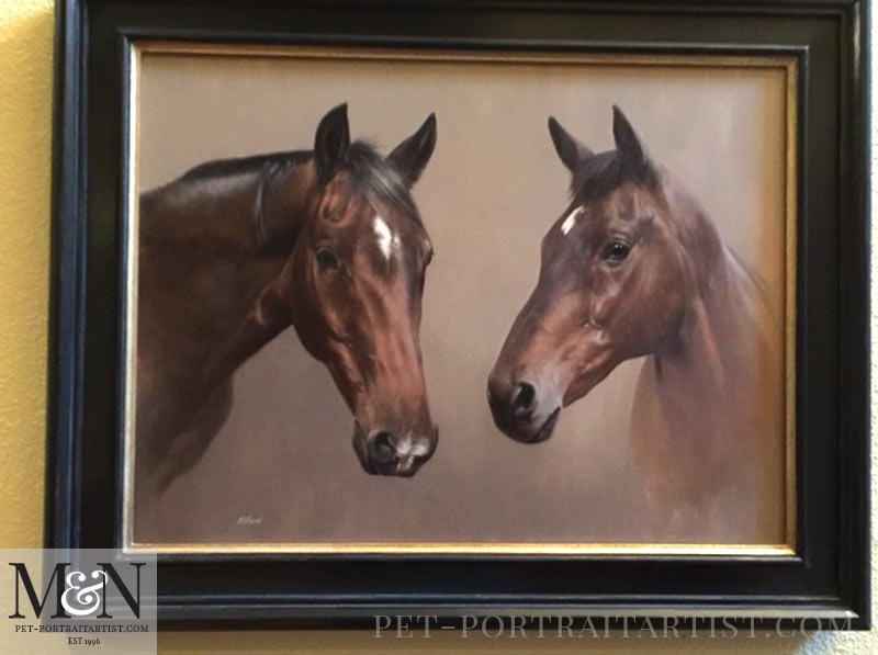 Double Horse Oil Painting Framed