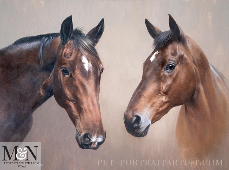 Double Horse Oil Painting