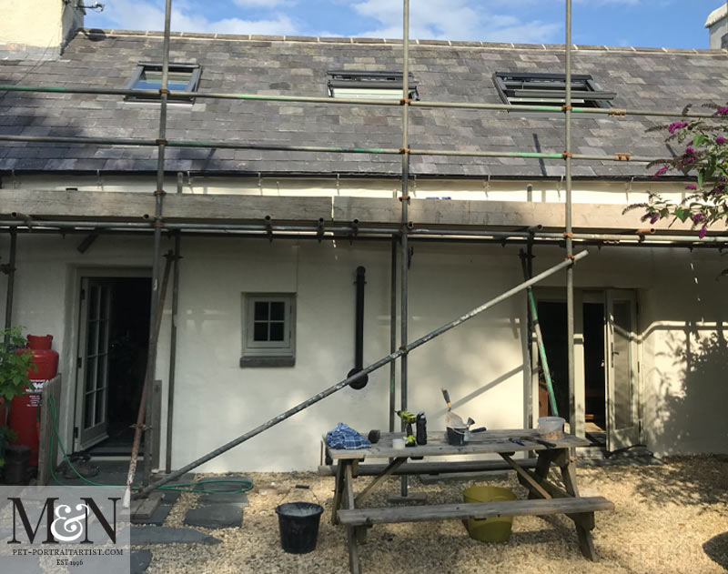 The back of the cottage with the new roof windows