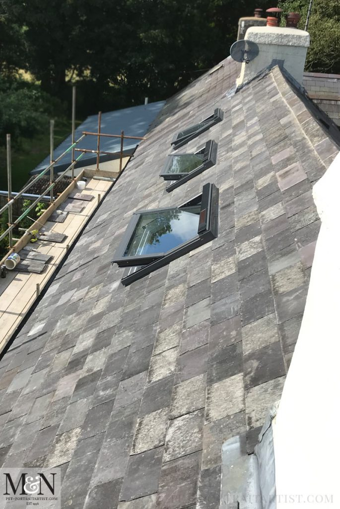 Clean lines and shiny roof windows and very pretty slate!