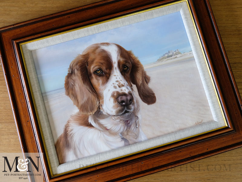 Framed Spaniel Oil Portrait of Millie