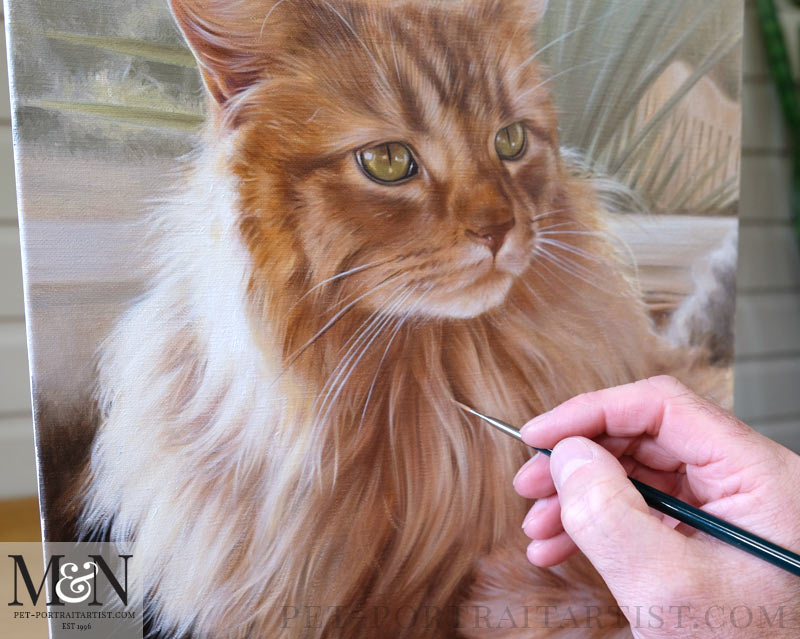 Detail of the Cat Portraits in Oils