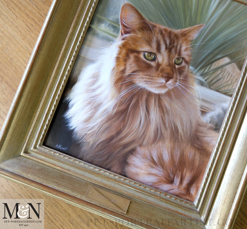 Close up of the portrait framed