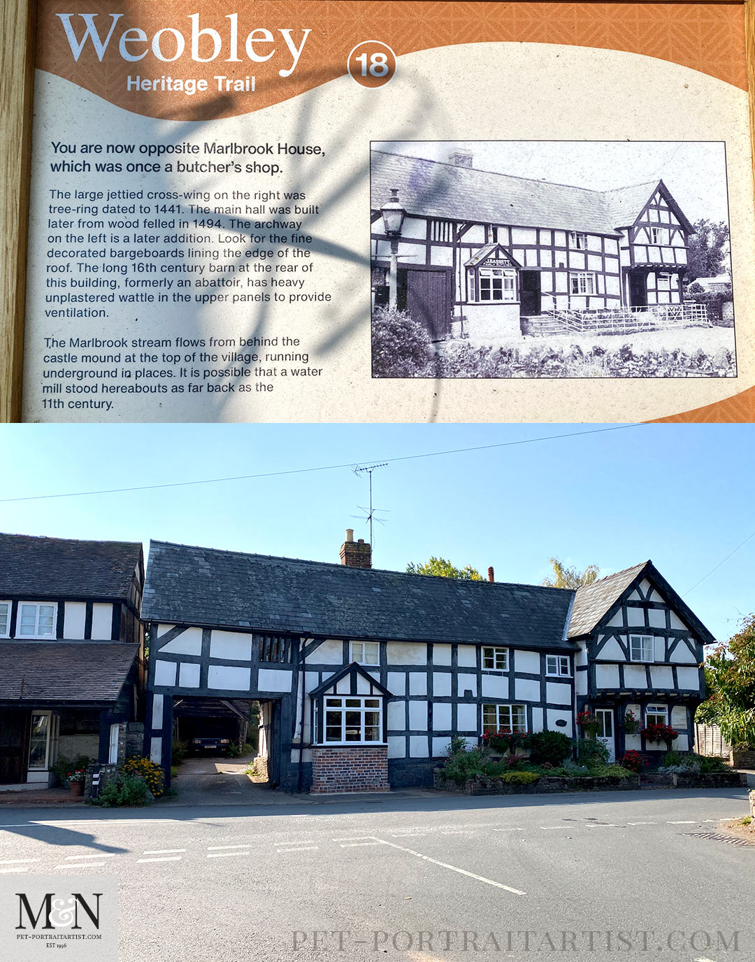 Weobley - Photo taken now and the comparison above on the info board.