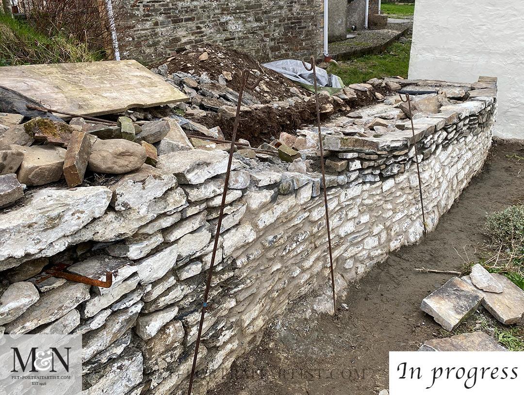 The wall in progress